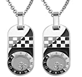 Epinki 2Pcs Couple Necklace, Stainless Steel Cubic Zirconia Cross Dog Tag ...