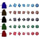Kit 35 Dados para RPG Opacos Perolados D4 D6 D8 D10 D10% D12 D20 + 5 Bolsas Coloridas
