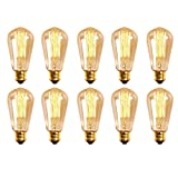 Homestia Amber Color ST58 60W 110V Vintage Antique Edison Style Incandescent Clear Glass Light Lamp Bulb (10 pack)
