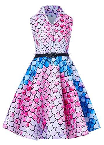 RAISEVERN Girls Retro Dresses Summer Sleeveless Vintage Cute Pink Mermaid Scale Dress for Little Girls 8-9 Years]()
