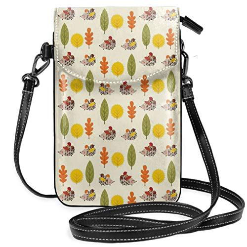 Women Small Cell Phone Purse Crossbody,Various Autumn Leaves From Different Trees Animals Carrying Nuts Nature ()