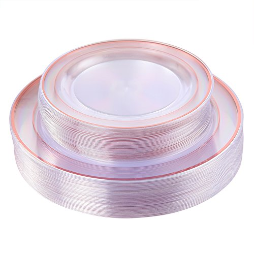 Rose Gold Plates 60 Pieces, Clear Plastic Party Plates, Premium Heavyweight Disposable Wedding Plates Includes: 30 Dinner Plates 10.25 Inch and 30 Salad/Dessert Plates 7.5 Inch -