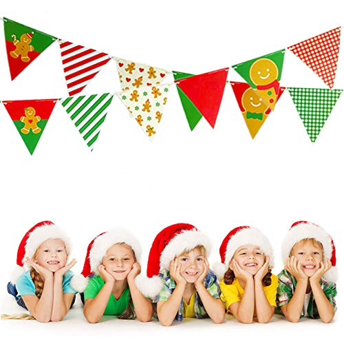 Merry Christmas Banner Christmas Decorations Gingerbread Man Cardstock Triangular Christmas Pennant Bunting Garland Décor Christmast Ornaments Flags for Home Christmas Decoration, Party, Shopping ()