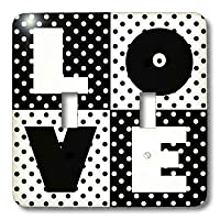 3dRose LLC lsp_35556_2 Love Black and White Polka Dots - Double Toggle Switch
