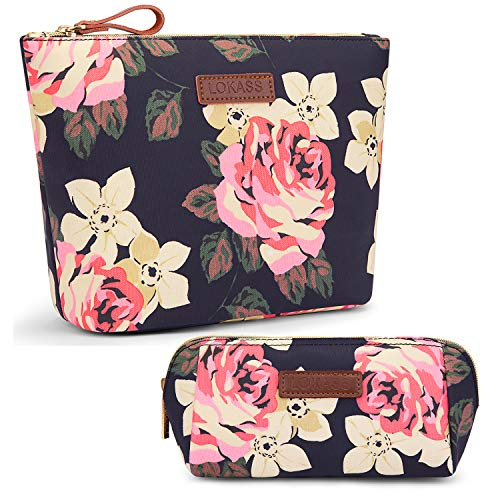 NiceEbag Large Makeup Bag with Small Cosmetic Pouch for Purse Handy Floral Makeup Organizer Set Cute Travel Toiletry Bags for Women, Girls Peony,L S