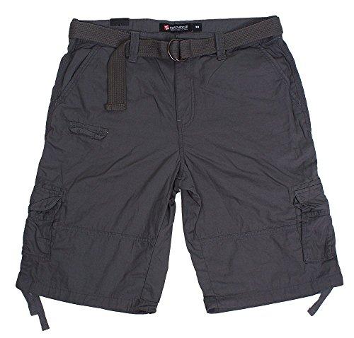 New South Men's Canvas Cargo Belted Short Dark Grey supplier
