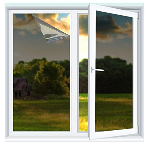 Yzakka Light Filtering Window Film Anti UV No Glue Sun Control Heat Control Residential Window Films for Glass Self Adhesive for Home Bedroom Bathroom Kitchen Office Dark (17.7inchX13.2ft)