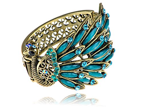 Alilang Womens Antique Golden Tone Peacock Bracelet Bangle With Turquoise Blue Crystal Rhinestone Gems