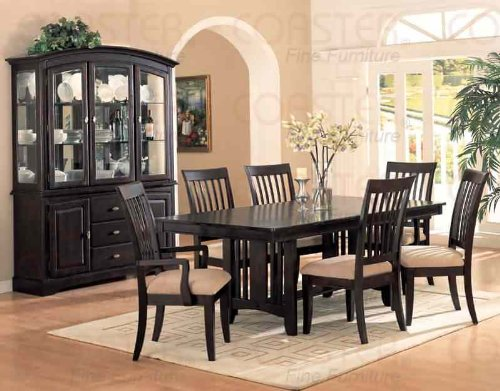 Cappuccino Finish Casual Dining Set,Table+6Chairs+Buf/Hut