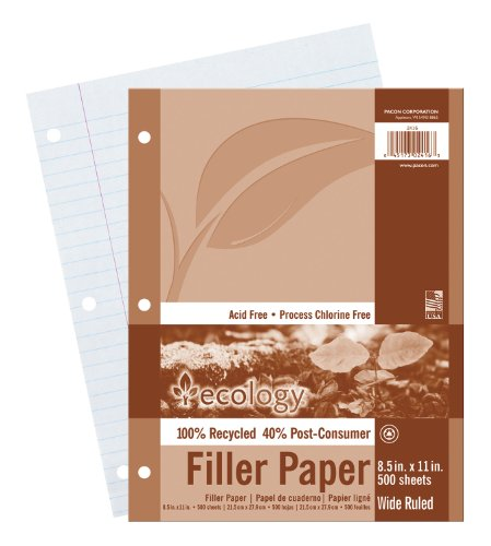 Ecology Recycled Filler Paper P2416, Wide Ruled, 8-1/2