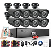 Rraycom 8 Channel 1080H AHD Home Security Camera System DVR Recorder 2TB Hard Drive Preinstalled with 8 HD 2000TVL Waterproof Night Nision Indoor/Outdoor CCTV Surveillance Cameras