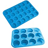 Sanbadao Silicone Muffin Cupcake Baking Pan,12 and 24 Cup Sizes,Blue(2 Pack)