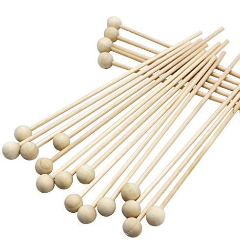 6 Inch Rock Candy Sticks with Ball Wood Swizzle Sticks Lollipops Sucker Cake Pops Ball End Pop Sticks 100 Pcs (Rock Candy Pops Sticks)