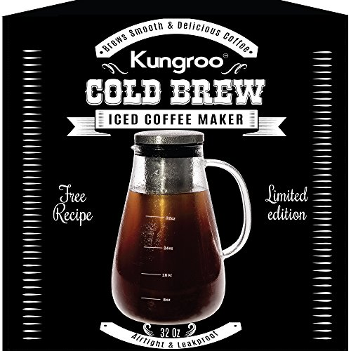 Kungroo Airtight Glass Cold Brew Iced Coffee Maker Pitcher Pot , 1 Quart (Coffee Pressed Cold Maker)