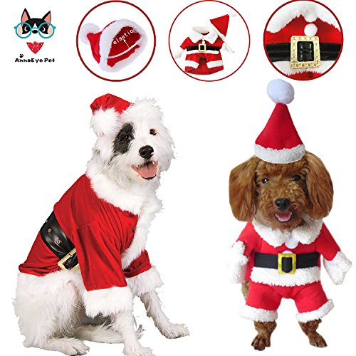 AnnaEye Pet Dog Cat Puppy T Shirt Warm Hoodies Coat Christmas Clothes Santa Doggy Apparel Hoodie Christmas Gift S