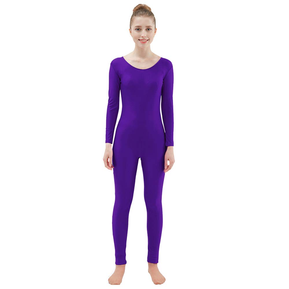 Ensnovo Womens Spandex Bodysuit Long Sleeve Scoop Neckline Footless Unitard DPurple,XS by Ensnovo