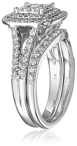 IGI Certified 14k White Gold Diamond Double Cushion Cluster Bridal Wedding Ring Set 1