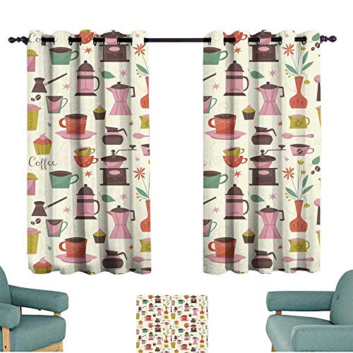 (Warm Family Bedroom Windproof Curtain Seamless Pattern with Coffee Cups and Coffee Grinder Noise Reducing)