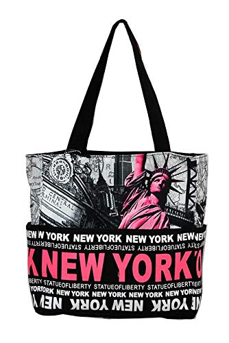 9eb1f23af6377 Amazon.com  Robin Ruth Statue of Liberty NY Skyline Canvas Tote Shoulder  Small Bag Fuschia Black  Shoes