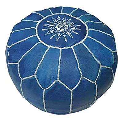 Handmade Moroccan leather ottoman pouf, 100% leather: Handmade