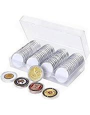 KTING Professionele Munt Opbergdoos voor Muntenverzameling,41MM Munthouder, 60 Stuks Zilveren Dollar Munt Capsules met Schuimpakking,