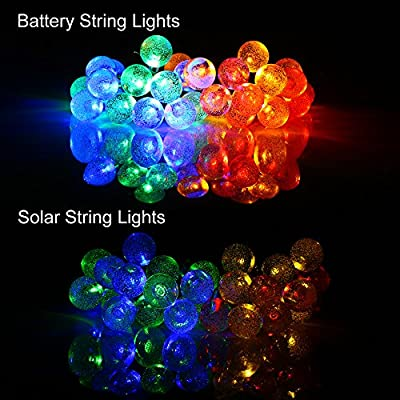 [Rechargeable Battery Included] easyDecor Globe Battery Operated String Lights 30 LED Automatic Timer 8 Mode Crystal Ball Christmas Lights for Xmas Garden Outdoor Holiday Decoration