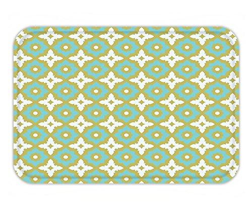 Minicoso Doormat Ceramic Tile Decor Floral Shaped Soft Pastel Toned Ornate Islamic Mosaic Style Pattern Khaki (Minnesota Vikings Khaki)