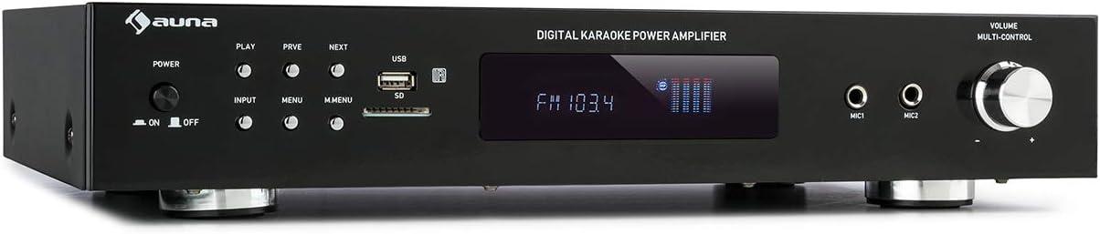 auna AMP-9200 BT Amplificador Estéreo para Karaoke, Potencia de Salida: 2 x 60 vatios RMS, Bluetooth, sintonizador FM, USB/ SD, Entrada Auxiliar, Entrada DVD, 2 Conectores de micrófono, Negro