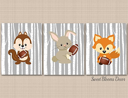 Woodland Nursery Decor,Woodland Wall Art,Football Wall Art,Foorball Kids Room,Animal Sports Nursery Wall Art,Woodland Décor,Sports Kids Room Decor -UNFRAMED Set of 3 PRINTS (NOT CANVAS) C362