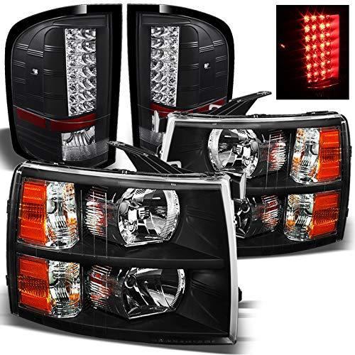 Xtune for 2007-2014 Chevy Silverado Black Headlights + Black LED Performance Tail Lights 2008 2009 2010 2011 2012 2013