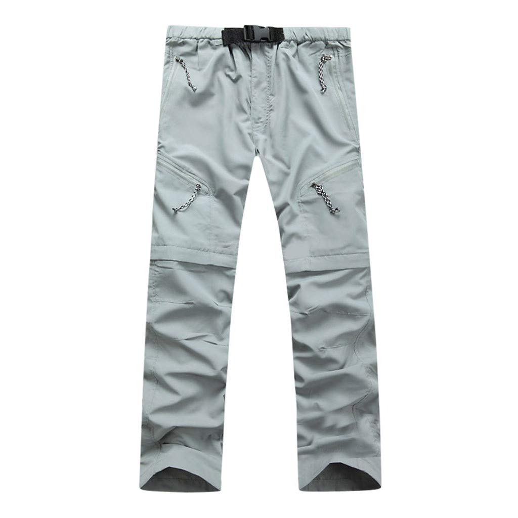 BAOHOKE Outdoor Quick Dry Detachable Trousers for Men,Portable Waterproof Multi-Use Pocket Sweatpants(Gray,XL)