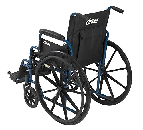 Drive Medical Blue Streak Wheelchair with Flip Back Desk Arms, Swing Away Footrests, 18'' Seat by Drive Medical (Image #3)