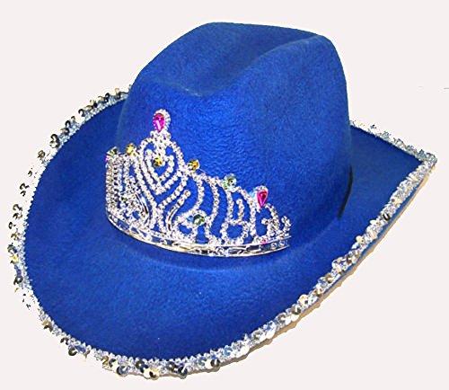 Velvet Cowboy Hat (Brand New Velvet Dark Blue Cowboy Hat with Tiara and Sequin Trim)