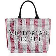 VICTORIA 'S SECRET Limited Edition Pink White Striped Sequin Large Tote Bag