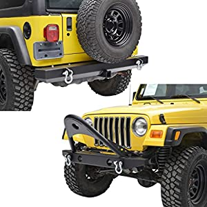 E-Autogrilles YJ TJ Jeep Wrangler Front and Rear Bumper Combo with Stinger and Hitch Receiver