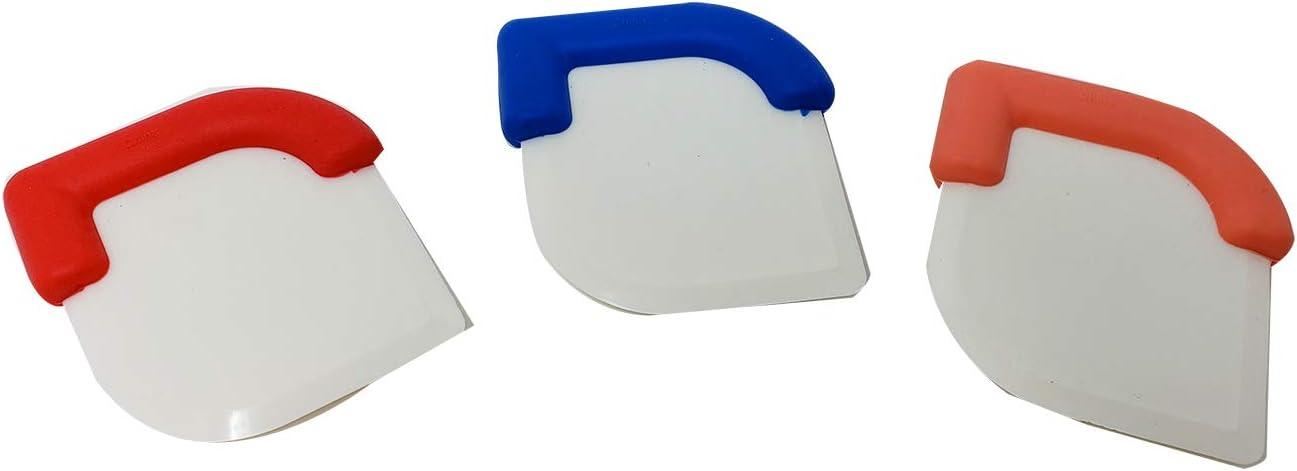 Premium Pan | Skillet Scraper Dish, Pastry, Cake & Dough Scraper Tool (3 Pack) Assorted Colors dough scraper pastry scraper