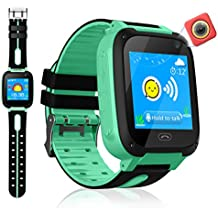 VEAQEE GPS Tracker Kids Smart Watch for Children Girls Boys Christmas Gifts with Camera SIM Calls Anti-lost SOS Alarm Compatible for ios and Android (Green)