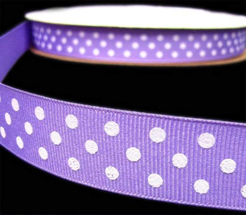 5 Yards Orchid Purple White Swiss Polka Dot Polkadot Grosgrain Ribbon ()