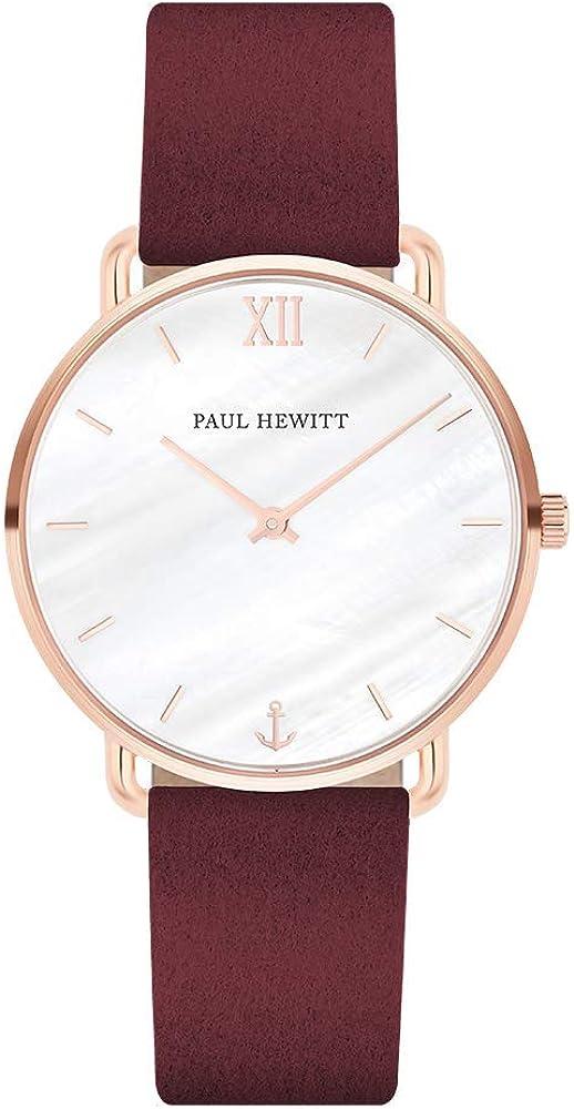 PAUL HEWITT Reloj de muñeca para Mujer en Acero Inoxidable Miss Ocean Pearl - Reloj de Pulsera de Cuero Color Granate, Reloj de muñeca para Mujer con Esfera perlada