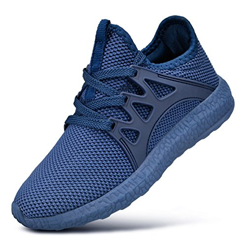 QANSI Child Kids Fashion Sneakers Ultra Lightweight Breathable Athletic Running Walking Tennis Shoes for Girls Boys 1.5 Little Kid Blue
