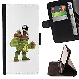 - Queen Pattern FOR HTC One M7 /La identificaci????n del cr????dito ranuras para tarjetas tir????n de la caja Cartera de cuero cubie - green monster wrestling white man -