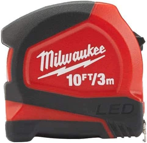 Width 12mm Milwaukee 48226602 LED Tape Measure 3m//10ft Red