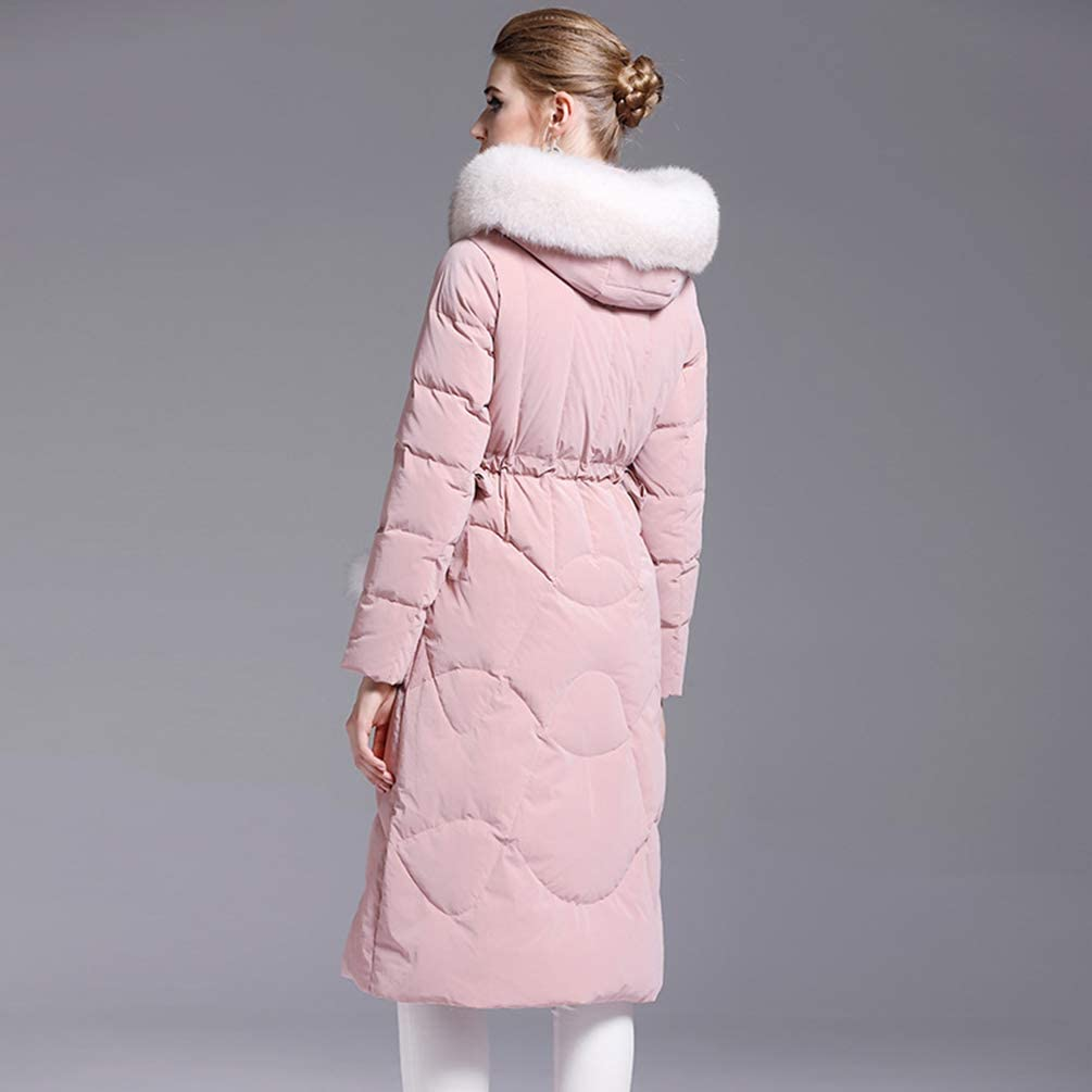 Winter Down Jacket Women's Fashion Slim White Duck Down with Long Fur Collar Coat Thickened Coat pink