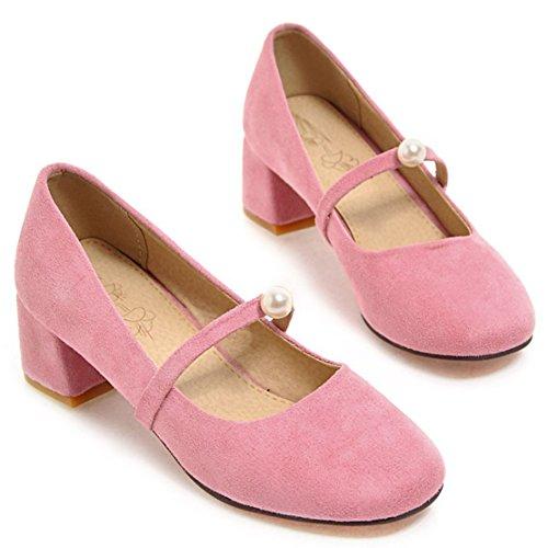 AIYOUMEI Damen Wildleder Geschlossen Chunky Heel Mary Jane Pumps mit Perlen und 5cm Absatz Schuhe Rosa