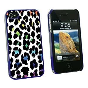 Graphics and More Leopard Spots Animal Print Rainbow On White - Snap On Hard Protective Case for Apple iPhone 6 4.7 - Blue - Carrying Case - Non-Retail Packaging - Blue