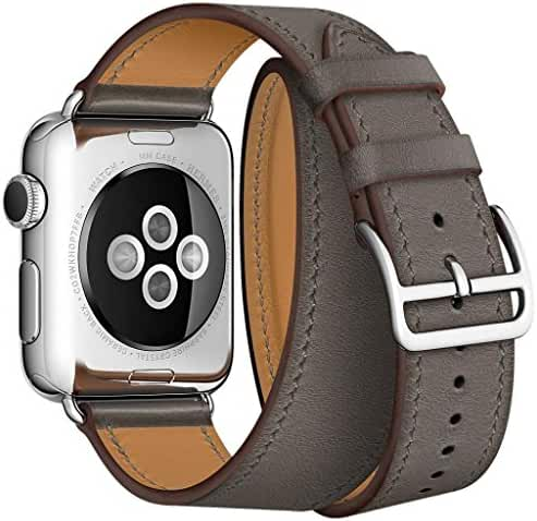 AutumnFall Double Tour Bracelet Genuine Leather Long Watch Band for Apple Watch 38mm