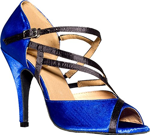 L008 Womens Wedding Tango Cha Prom Dance Salabobo Party Satin Ballroom Latin cha Blue Shoes dAw5n0