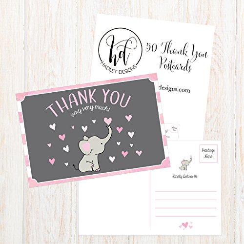 50 4x6 Elephant Girl Baby Shower Thank You Postcards Bulk, Beautiful Pink Modern Cute Boho Blank Thanks Note Card Stationery Appreciation Set Photo #4
