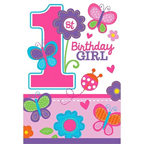 Die-Cut Postcard Invitations | 1st Birthday | Girl | Flowers and Butterflies Collection]()