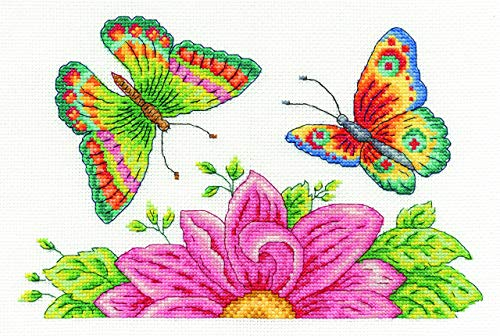 - DMC BK1545 14 Count Butterfly Garden Counted Cross Stitch Kit, 10